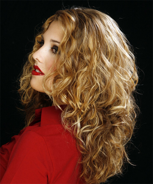 Long Curly Casual    Hairstyle   - Side on View