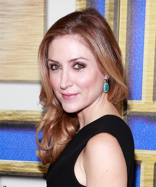 Sasha Alexander Long Wavy Formal   Hairstyle   - Medium Brunette (Chestnut) - Side on View