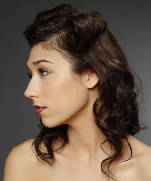 Updo Medium Curly Casual  Half Up Hairstyle   - Dark Brunette - Side on View
