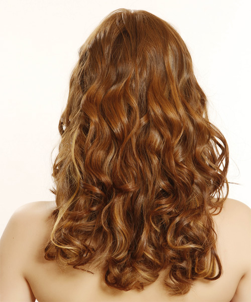 Long Wavy Formal    Hairstyle   -  Auburn Brunette Hair Color - Side on View