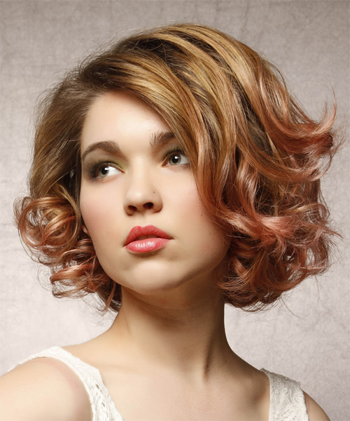 Short Curly Formal Hairstyle Strawberry Brunette Hair Color Side On View