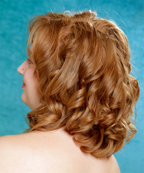 Medium Wavy Formal   Hairstyle with Layered Bangs  - Light Brunette (Copper) - Side on View