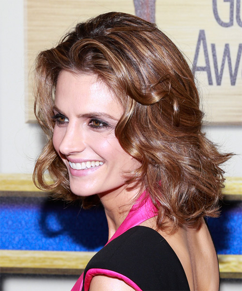 Stana Katic Medium Wavy Casual   Hairstyle   - Medium Brunette (Chestnut) - Side on View