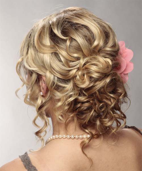 Long Curly Formal   Updo Hairstyle   - Dark Blonde Hair Color with Light Blonde Highlights - Side on View