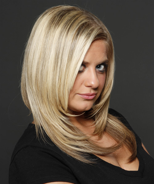 Long Straight    Blonde and  Brunette Two-Tone   Hairstyle   with Light Blonde Highlights - Side on View