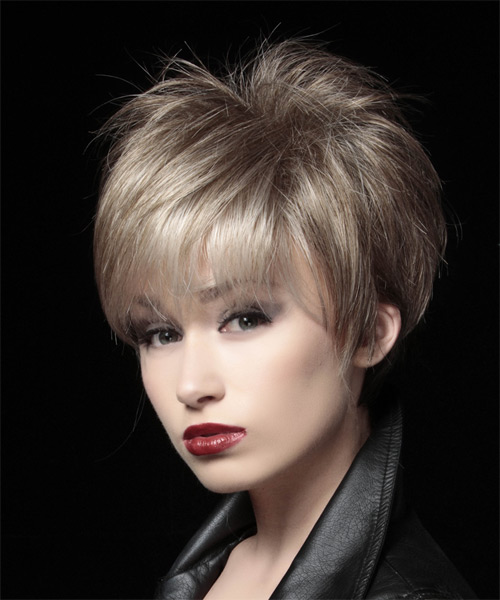 Layered  Light Ash Brunette Pixie  Cut   with Light Blonde Highlights - Side on View