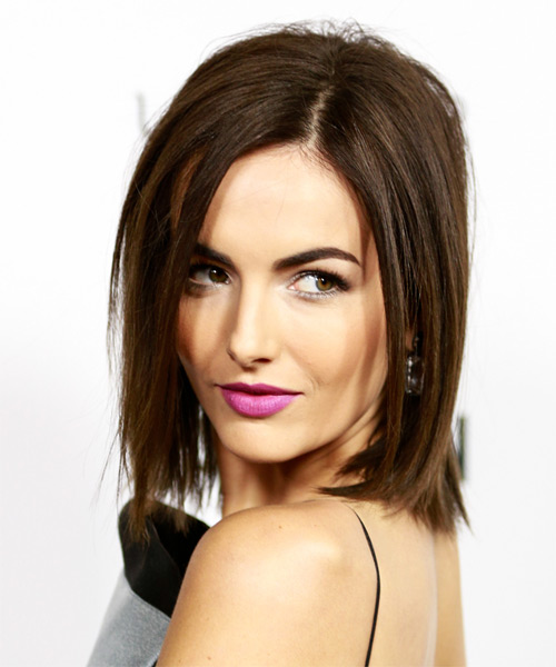 Camilla Belle Medium Straight   Dark Brunette Bob  Haircut   - Side on View