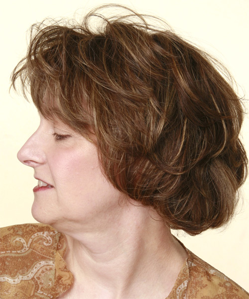 Short Wavy Casual    Hairstyle with Layered Bangs  -  Brunette Hair Color - Side on View