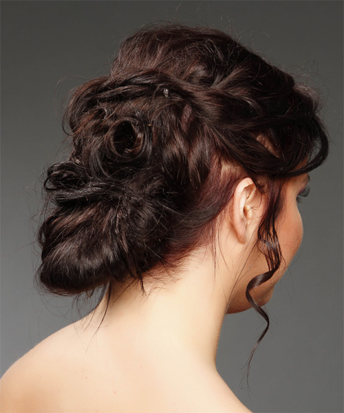 Long Curly Formal   Updo Hairstyle   - Dark Burgundy Red Hair Color - Side on View
