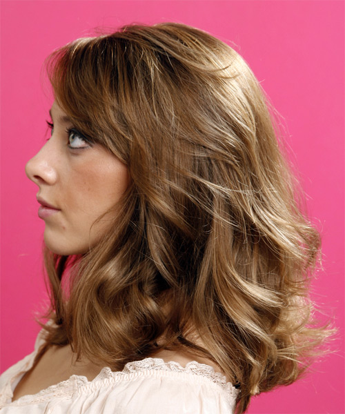 Long Wavy Casual   Hairstyle with Side Swept Bangs  - Light Brunette (Caramel) - Side on View