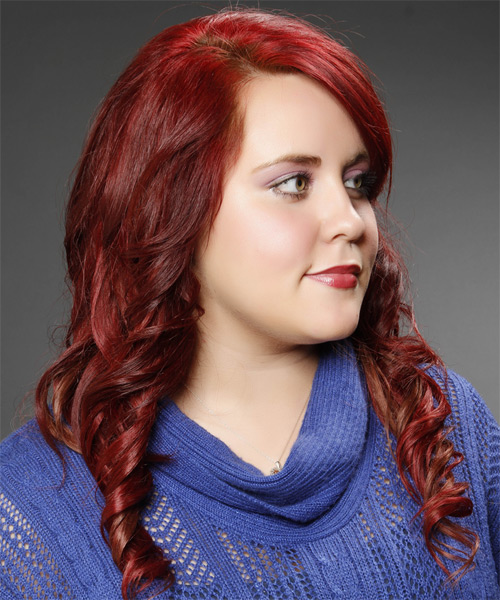 Long Curly    Burgundy Red   Hairstyle with Side Swept Bangs  - Side on View