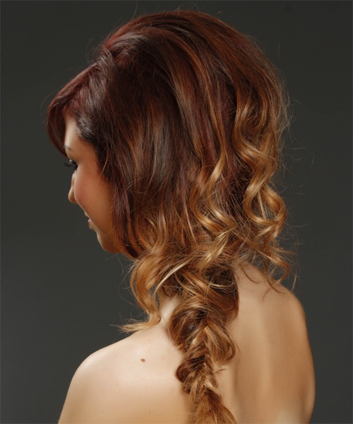 Long Curly Casual  Braided Half Up Hairstyle with Side Swept Bangs  - Medium Burgundy Brunette and Medium Blonde Two-Tone Hair Color - Side on View