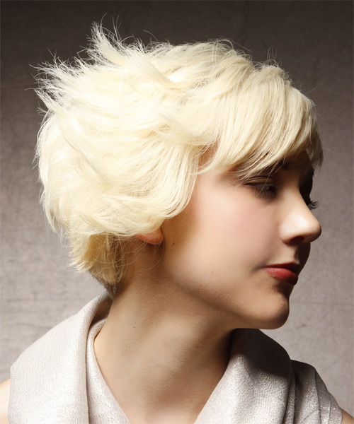 Short Straight Alternative  Asymmetrical  Hairstyle   - Platinum Hair Color - Side on View