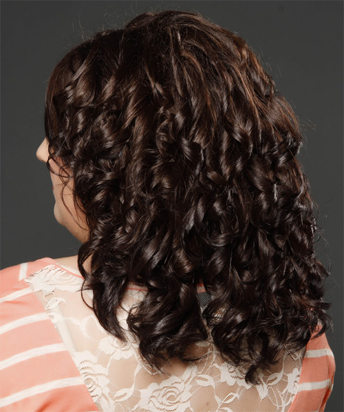 Medium Curly Formal    Hairstyle with Side Swept Bangs  - Dark Mocha Brunette Hair Color - Side on View