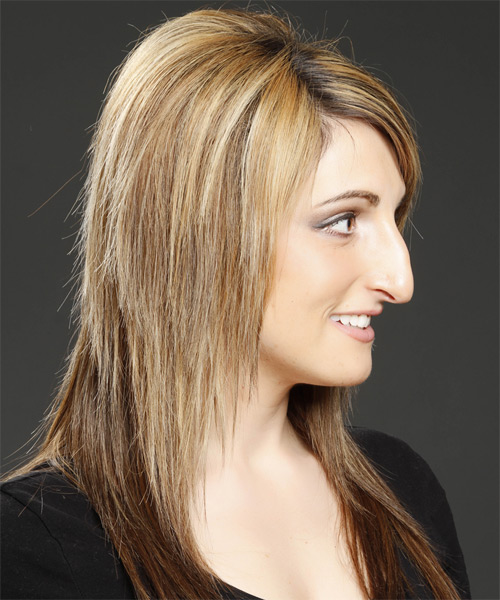 Long Straight Light Golden Brunette Hairstyle with Side Swept Bangs and Dark Blonde Highlights