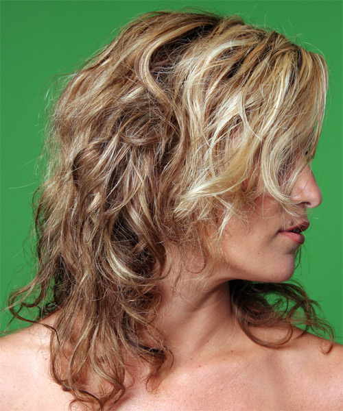 Long Curly   Dark Blonde  Half Up Hairstyle   - Side on View