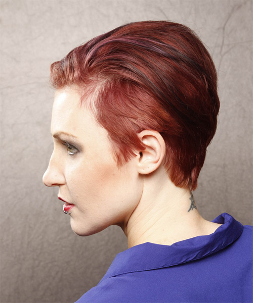 Short Straight Casual    Hairstyle   -  Red Hair Color - Side on View