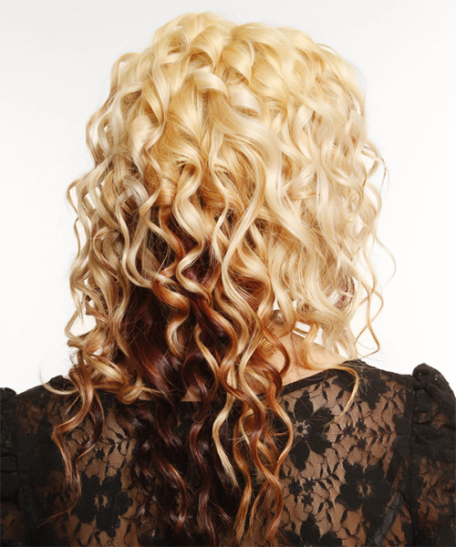 Long Curly Formal   Hairstyle with Blunt Cut Bangs  - Light Blonde (Mahogany) - Side on View