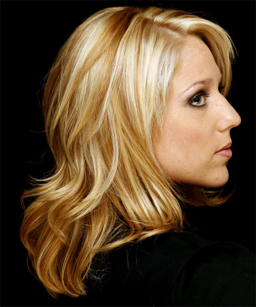 Long Wavy Casual   Hairstyle   (Golden) - Side on View