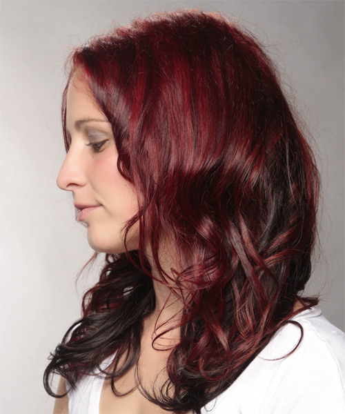Long Wavy Casual    Hairstyle   -  Red and Dark Brunette Two-Tone Hair Color - Side on View