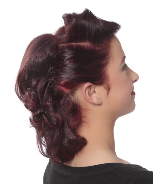 Updo Medium Curly Formal  Updo Hairstyle   - Dark Red (Burgundy) - Side on View