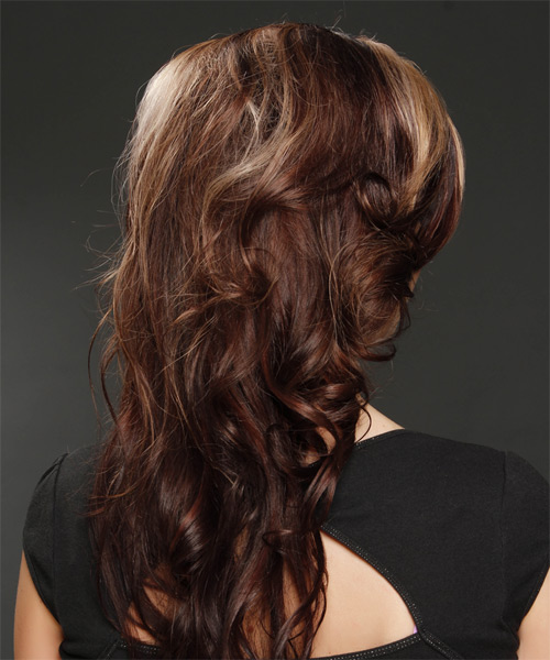 Long Wavy   Dark Mocha Brunette   Hairstyle   with Light Blonde Highlights - Side on View