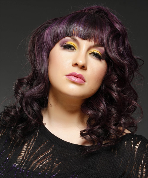 Medium Wavy Formal   Hairstyle with Blunt Cut Bangs  - Purple (Plum) - Side on View