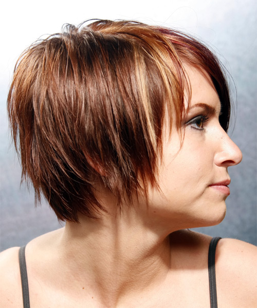 Short Straight Casual    Hairstyle with Side Swept Bangs  - Chestnut Hair Color - Side on View