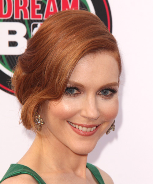 Darby Stanchfield  Long Curly    Ginger Red  Updo    - Side on View