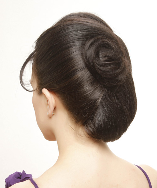 Long Straight   Black   Updo  with Side Swept Bangs  - Side on View