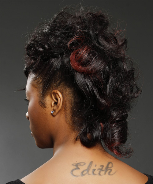 Medium Curly Formal   Updo Hairstyle   - Black  Hair Color with  Red Highlights - Side on View