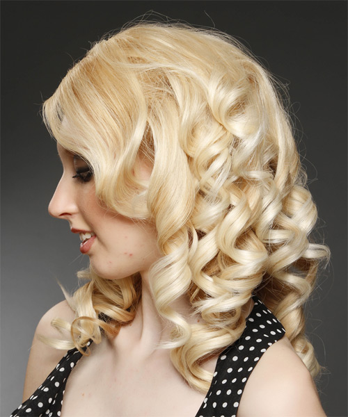 Medium Curly Formal    Hairstyle with Side Swept Bangs  - Light Honey Blonde Hair Color with Light Blonde Highlights - Side on View