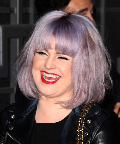 Kelly Osbourne Medium Straight   Purple  Bob  Haircut with Blunt Cut Bangs  - Side on View