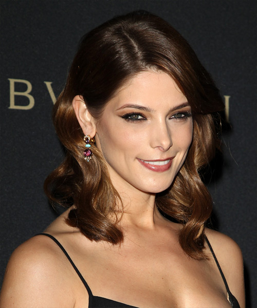 Ashley Greene Medium Wavy Formal    Hairstyle   - Medium Chocolate Brunette Hair Color - Side on View