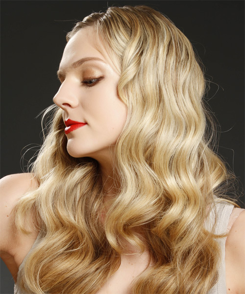 Long Wavy Casual   Hairstyle   - Medium Blonde - Side on View