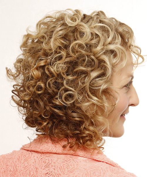 Medium Curly Casual    Hairstyle   -  Golden Blonde Hair Color with Light Blonde Highlights - Side on View