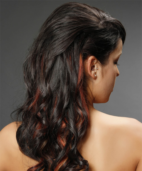 Long Curly   Mocha  Half Up Hairstyle   with  Red Highlights - Side on View