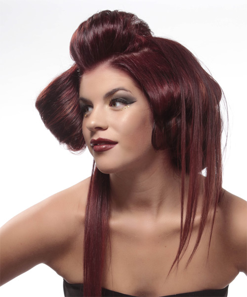 Long Straight    Burgundy Red Emo Updo    - Side on View