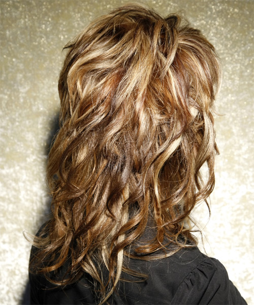Long Wavy Casual    Hairstyle with Side Swept Bangs  -  Caramel Brunette Hair Color with Light Blonde Highlights - Side on View