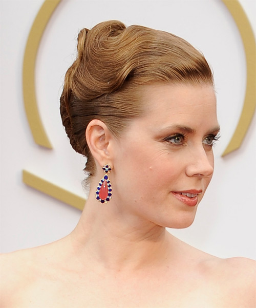 Amy Adams  Long Straight Formal   Updo Hairstyle   - Dark Strawberry Blonde Hair Color - Side on View
