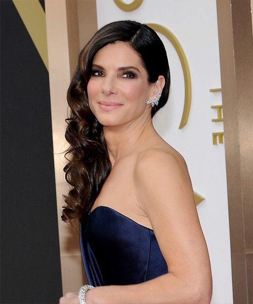 Sandra Bullock Long Wavy   Dark Mocha Brunette   Hairstyle   - Side on View