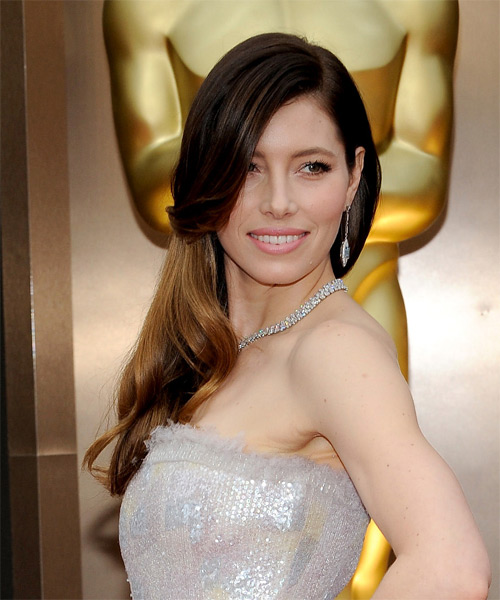 Jessica Biel Long Straight Formal   Hairstyle   - Dark Brunette - Side on View