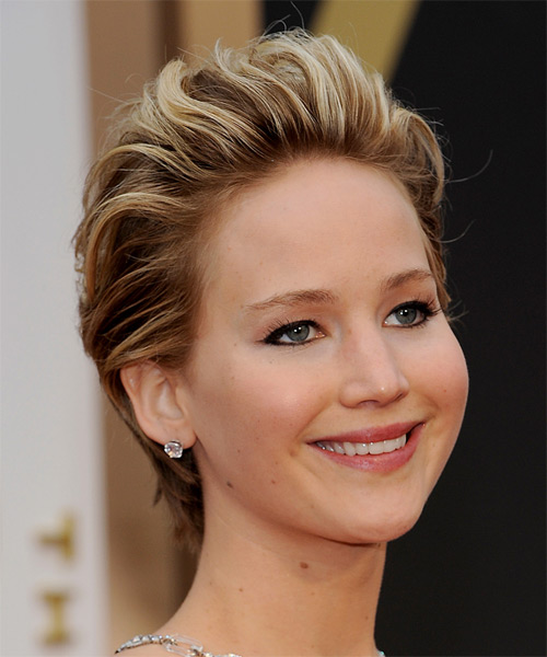 Jennifer Lawrence Short Straight Formal   Hairstyle   - Medium Brunette (Chestnut) - Side on View
