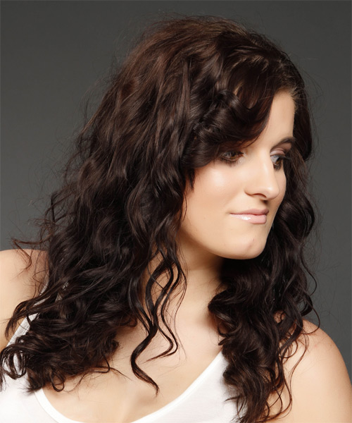Long Wavy   Dark Mocha Brunette   Hairstyle   - Side on View