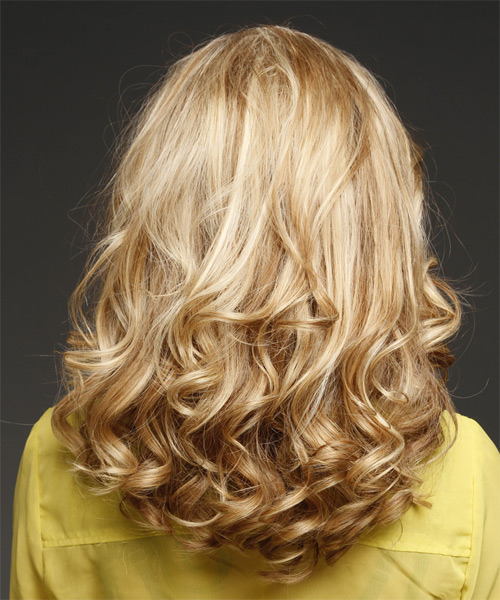 Long Wavy Formal    Hairstyle   -  Blonde Hair Color with Light Blonde Highlights - Side on View