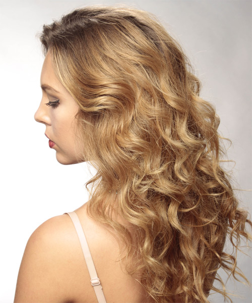 Long Wavy Formal    Hairstyle   -  Chestnut Brunette Hair Color - Side on View