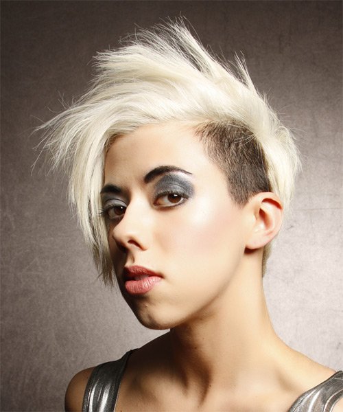 Short Straight Alternative  Asymmetrical  Hairstyle   - Light White Blonde and Dark Brunette Two-Tone Hair Color - Side on View