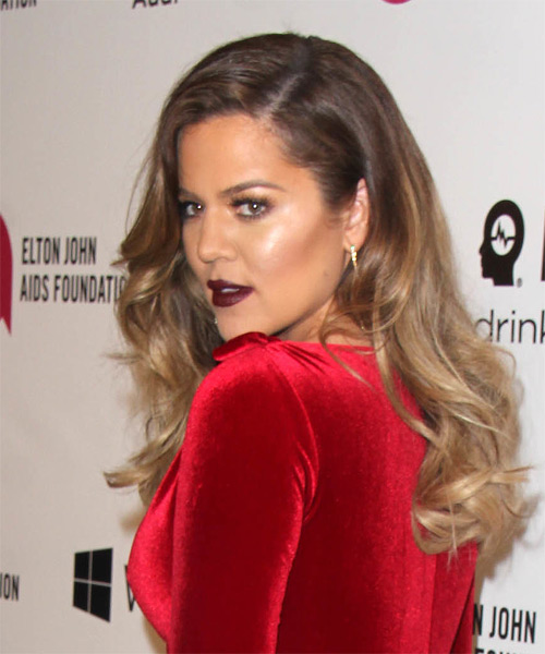 Khloe Kardashian Long Wavy Formal   Hairstyle   - Medium Brunette (Chestnut) - Side on View