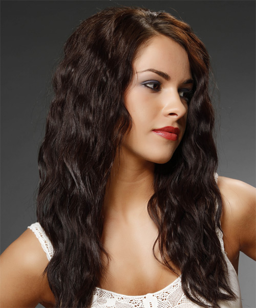 Long Wavy Casual    Hairstyle   - Mocha Hair Color - Side on View