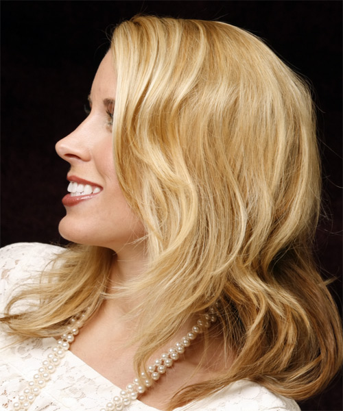 Long Wavy Casual   Hairstyle   - Light Blonde (Golden) - Side on View